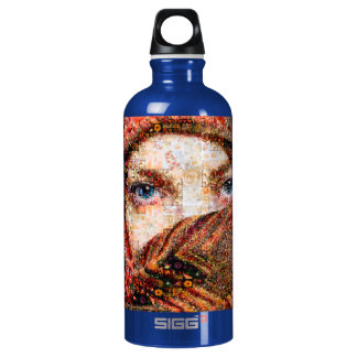 Collage-oeil-fille bédouine de fille-oeil de bouteille d'eau en aluminium