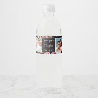 Collage rose de photo de mariage d'aquarelle étiquette pour bouteilles d'eau