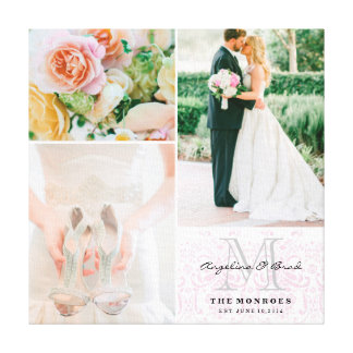 Collage rose fait sur commande de photo de mariage toiles