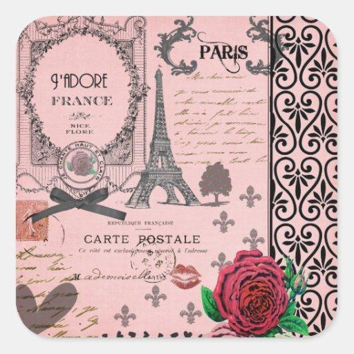 Collage rose vintage de Paris Adhésifs