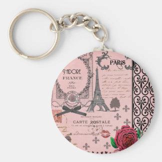Collage rose vintage de Paris Porte-clés