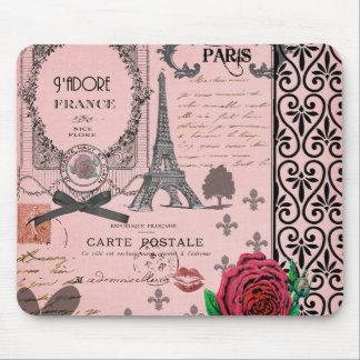 Collage rose vintage de Paris Tapis De Souris