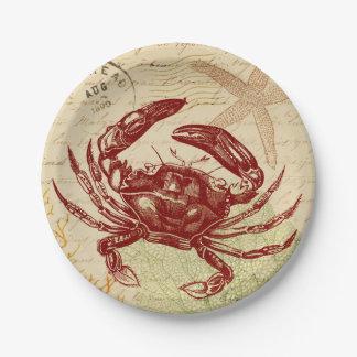 Collage rouge de crabe de bord de la mer assiettes en papier