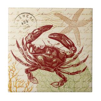 Collage rouge de crabe de bord de la mer petit carreau carré