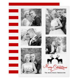 collage rouge de photo de nouveaux mariés de cerfs carton d'invitation  12,7 cm x 17,78 cm