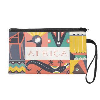 Collage symbolique africain d'art sacs à main avec dragonne