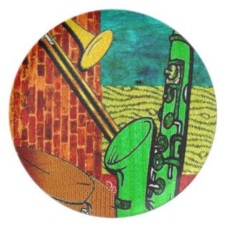 Collage terreux de jazz assiettes en mélamine
