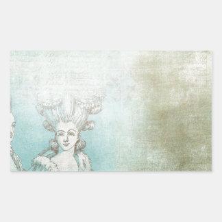 Collage victorien de coiffure de dames stickers en rectangle