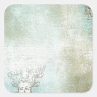 Collage victorien de coiffure de dames stickers carrés