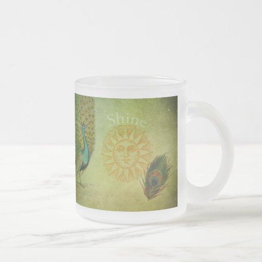 Collage vintage d'art de paon tasse à café