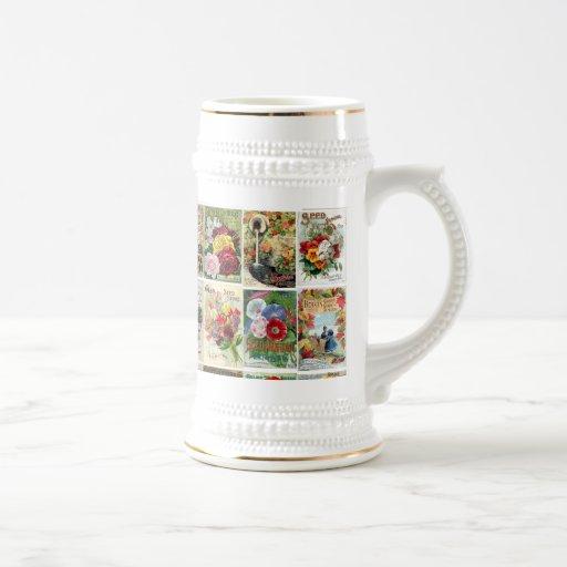 Collage vintage de catalogues de graine de fleur tasse à café