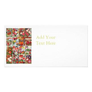 Collage vintage de jardin de paquets de graine de photocartes personnalisées