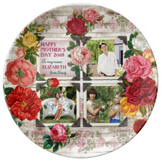 Collage vintage de photo d'Instagram de roses du Assiette En Porcelaine