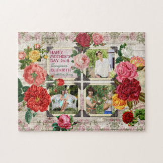 Collage vintage de photo d'Instagram de roses du Puzzle