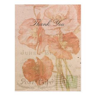 Collage vintage de style de pavots roses rouges de carte postale