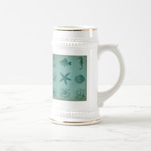 Collage vintage de thème d'océan mug à café
