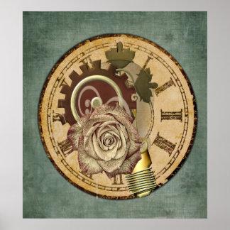 Collage vintage d'horloge poster