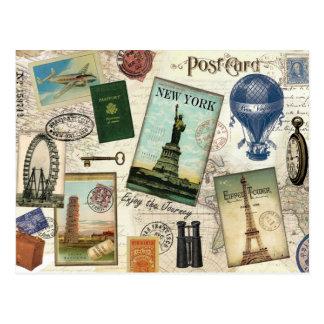 collage vintage moderne de voyage carte postale