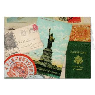 collage vintage moderne de voyage cartes de vœux