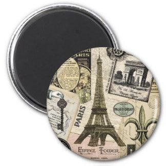 Collage vintage moderne de voyage de Français Magnet Rond 8 Cm
