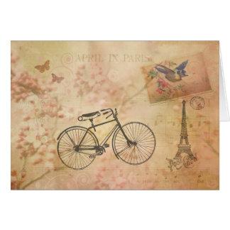 Collage vintage romantique de Paris au printemps Cartes