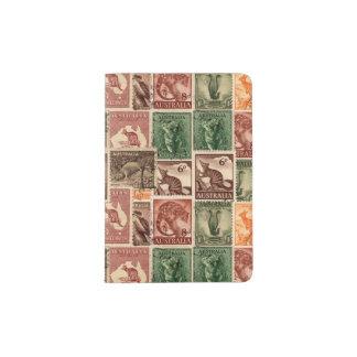 Collection australienne vintage de timbres-poste protège-passeports