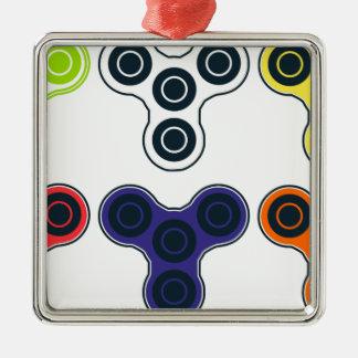 Collection colorée de fileur de personne remuante ornement carré argenté