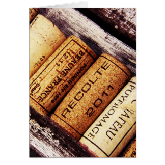 collection de lièges de bouteille de vin français carte de vœux