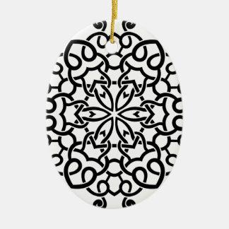 Collection de mandala de concepteurs : beige noir ornement ovale en céramique