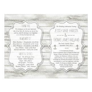 Collection en bois blanchie nautique de mariage de prospectus 21,6 cm x 24,94 cm