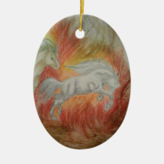 Collection ''Horses and Fire'' Ornement Ovale En Céramique