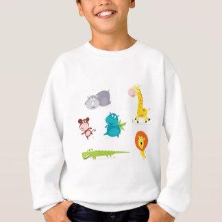 Collection illustrée tirée par la main d'animaux sweatshirt