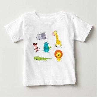 Collection illustrée tirée par la main d'animaux t-shirt pour bébé