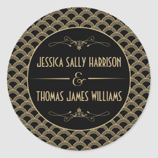 Collection vintage de mariage de Gatsby d'art déco Sticker Rond