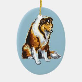 colley et chiens de St Bernard Ornement Ovale En Céramique
