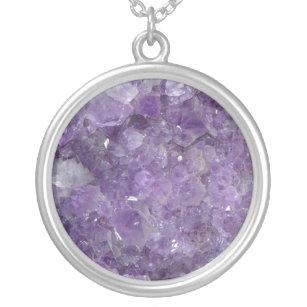 Collier Améthyste Geode - pierre gemme en cristal violette