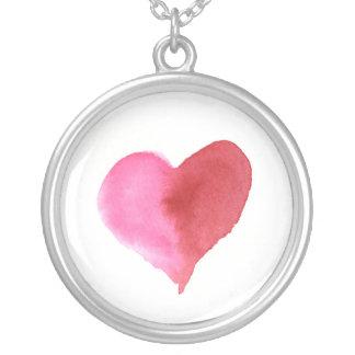 Collier Aquarelle rose et coeur rouge plus grand