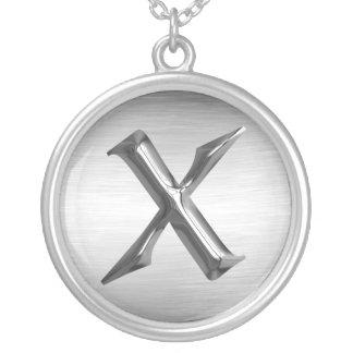 """Collier argenté initial de la lettre """"X"""""""