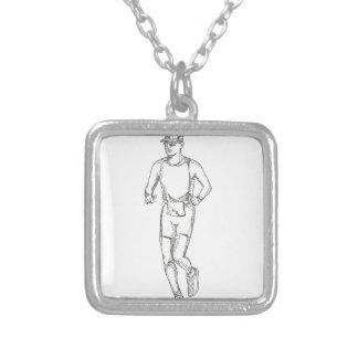 Collier Art de griffonnage de fonctionnement de marathon