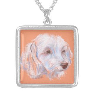 Collier Art de pastel de chien de Maltipoo