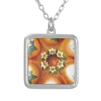 Collier art orange de noyau