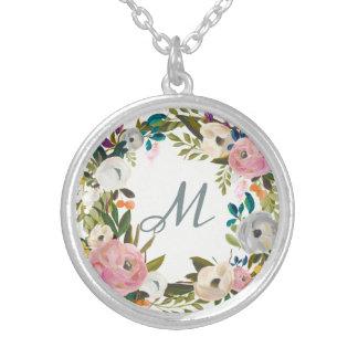 Collier Beau monogramme sensible des fleurs  