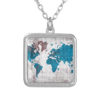 Collier bleu blanc de carte du monde