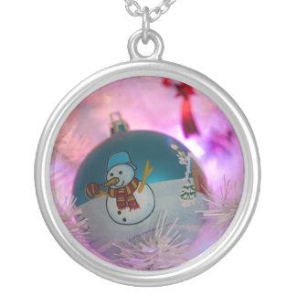 Collier Bonhomme de neige - boules de Noël - Joyeux Noël