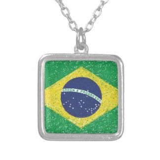 Collier Brésilien de *Hand-sketch* de drapeau du Brésil