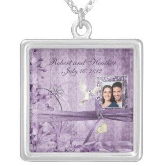Collier Cadeau de mariage floral de photo de lavande
