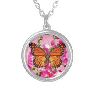 Collier Cadeaux floraux Rose-Gris Sharles de papillon de