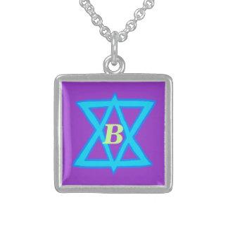 Collier carré personnalisable d étoile de David