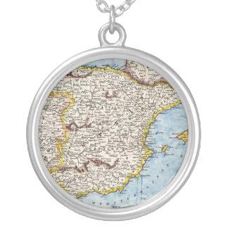 Collier Carte antique de l'Espagne et du Portugal circa