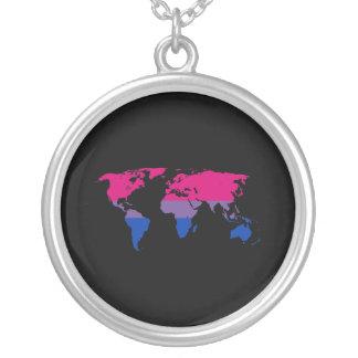 Collier Carte du monde de fierté de bisexualité